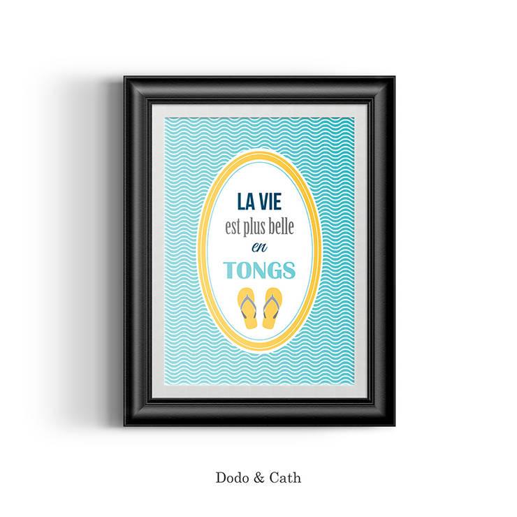 Affiche Tongs: Chambre de style  par Dodo & Cath