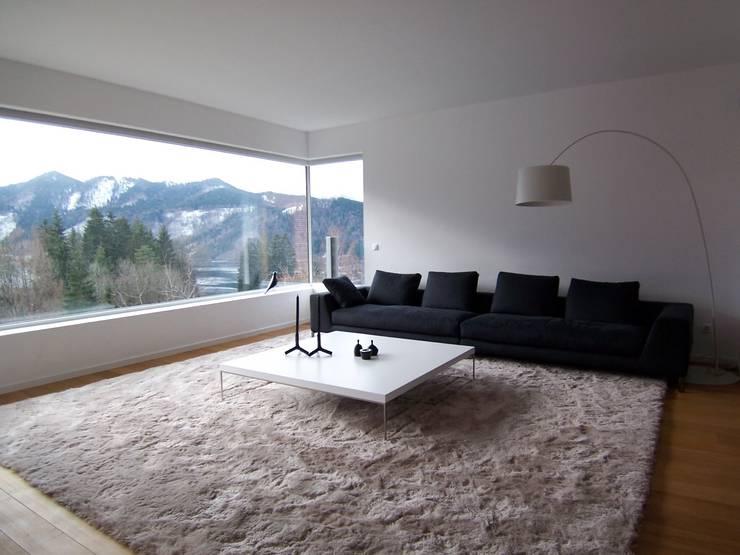 Villa AG11:  Wohnzimmer von Firmhofer + Günther Architekten
