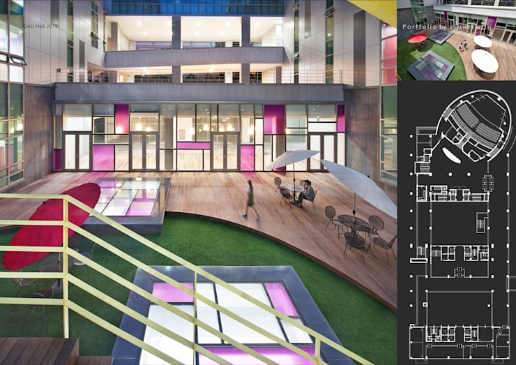 국제관 중정: designvom의  학교,모던