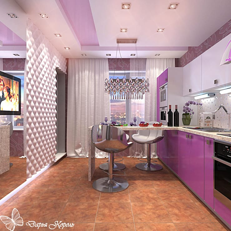 kitchen fuchsia in Minsk: Кухни в . Автор – Your royal design