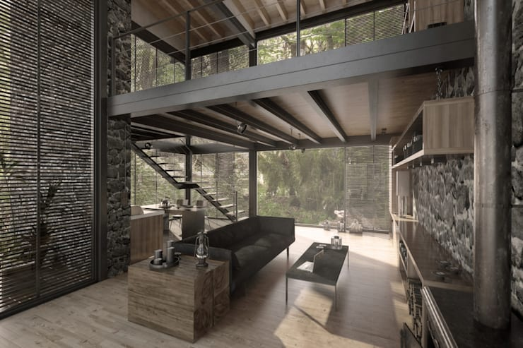 NATURAL LIGHT DESIGN STUDIO – House In Guatemala:  tarz Oturma Odası, Modern