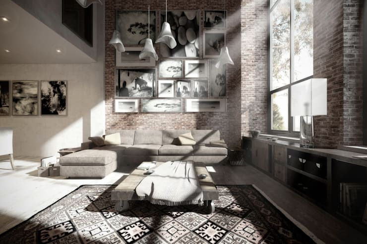 NATURAL LIGHT DESIGN STUDIO – Authentic Lofts: eklektik tarz tarz Oturma Odası