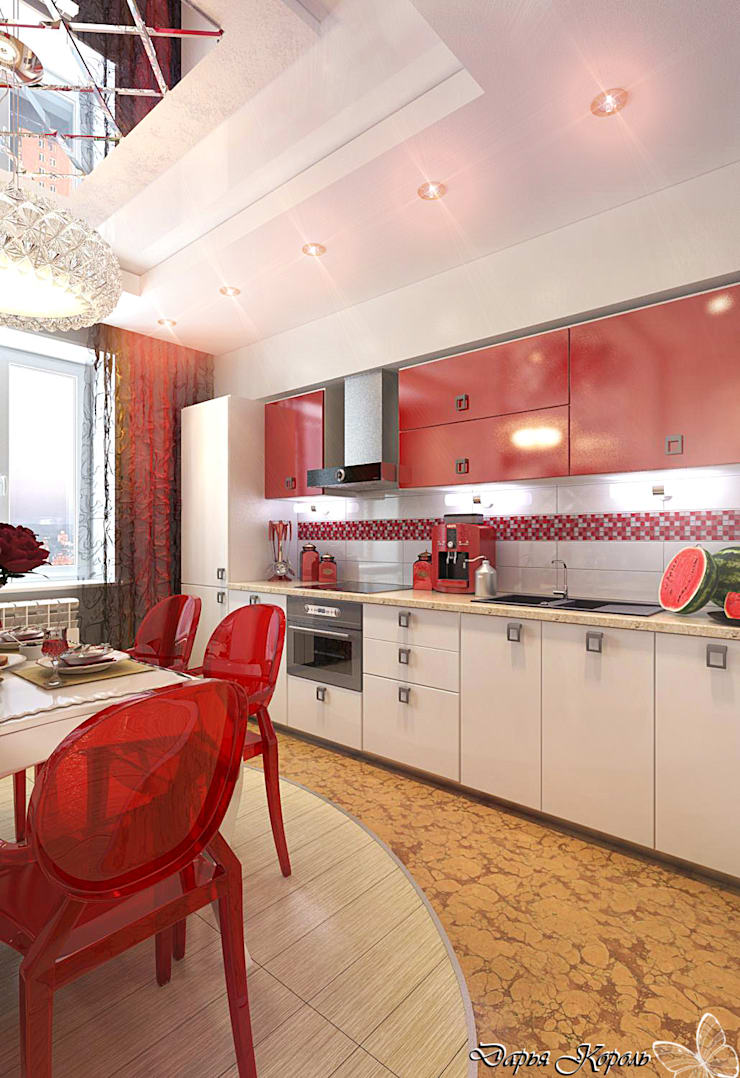 Kitchen with red accents: Кухни в . Автор – Your royal design