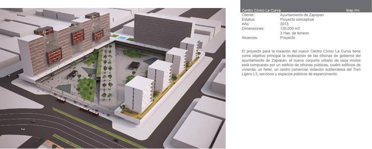 Complejo de usos mixtos Ciudad Gobierno de Zapopan: Edificios de Oficinas de estilo  por LEAP Laboratorio en Arquitectura Progresiva