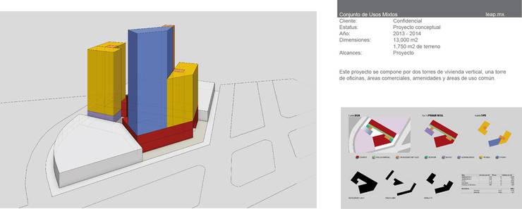 Complejo de usos mixtos Pablo Neruda, Guadalajara: Edificios de Oficinas de estilo  por LEAP Laboratorio en Arquitectura Progresiva