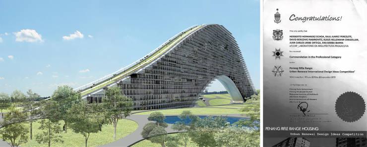 Residencial vertical Rifle Range, Penang, Malasia: Casas de estilo  por LEAP Laboratorio en Arquitectura Progresiva
