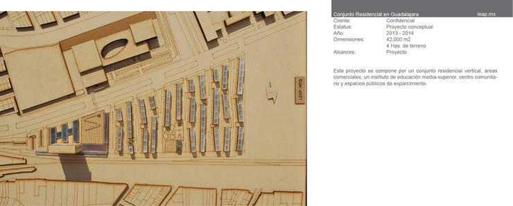 Complejo de usos mixtos Miravalle, Guadalajara: Oficinas y tiendas de estilo  por LEAP Laboratorio en Arquitectura Progresiva