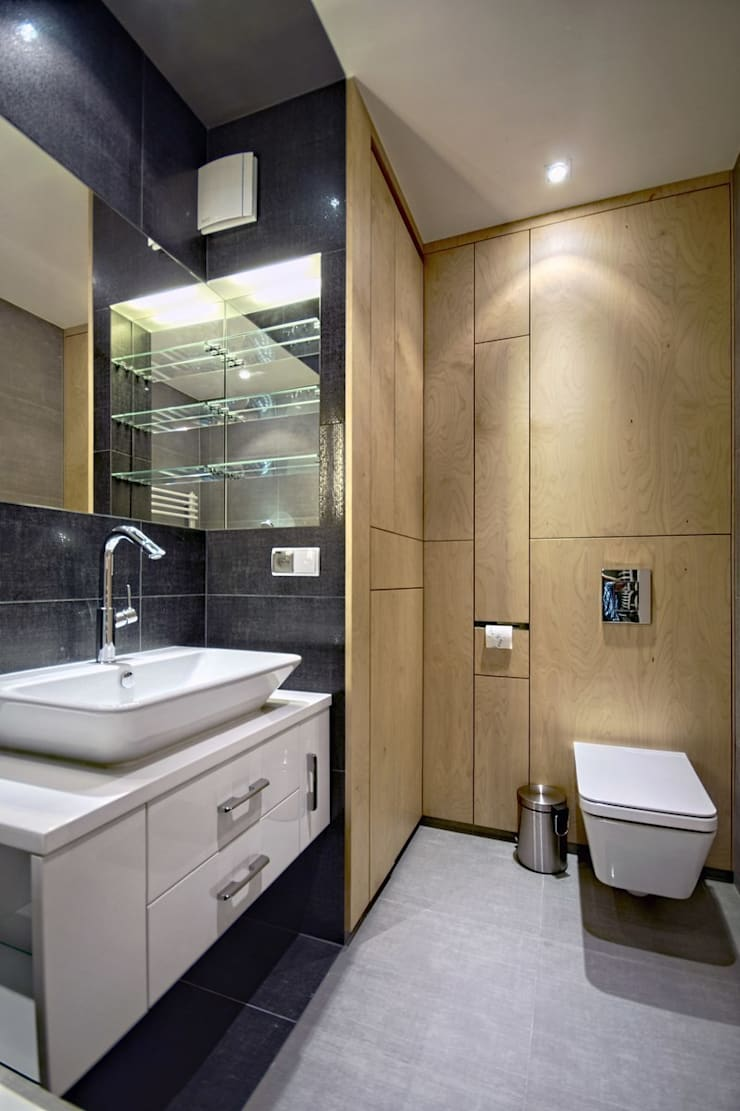 Bliźniak w Pychowicach: styl , w kategorii Łazienka zaprojektowany przez SHOQ STUDIO Architektura i wnętrza