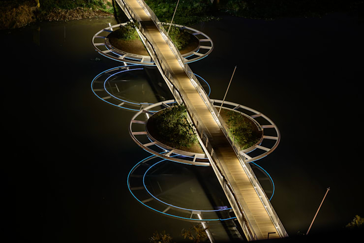 Ponte Friedrich Bayer – Ponte Móvel sobre o Canal Guarapiranga: Espaços comerciais  por LoebCapote Arquitetura e Urbanismo