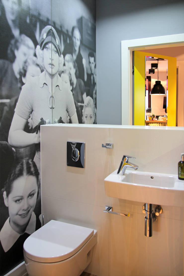 apartament Warszawa Włochy: styl , w kategorii Łazienka zaprojektowany przez SHOQ STUDIO Architektura i wnętrza