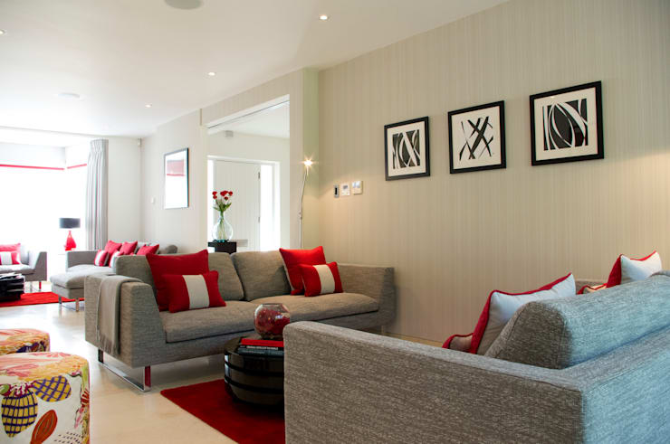 Red Living Room Colour Schemes Contemporary Modern By Lli Design
