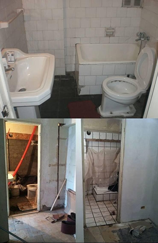 El baño antes y en proceso:  de estilo  de Estar Design