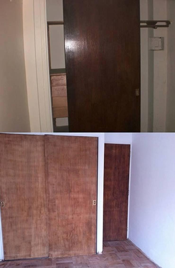La puerta del armario empotrado antes y en proceso:  de estilo  de Estar Design