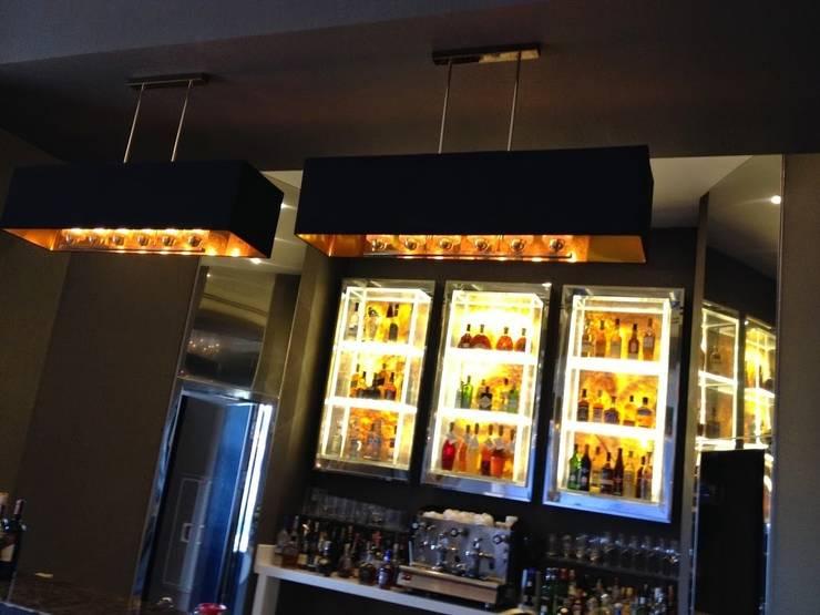 AS AYDINLATMA – Bar üstü abajur sarkıt ve  paslanmaz Şaraplık kaidesi,paslanmaz giydirmeler:  tarz