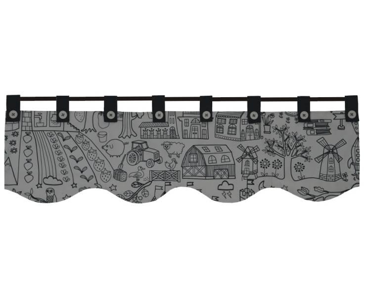 lambrekin rysowany czarną kreską: styl , w kategorii Okna i drzwi zaprojektowany przez Drewniany Guzik