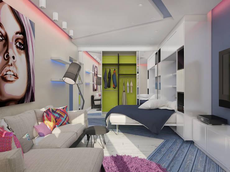 Однокомнатная квартира в стиле поп-арт: Гостиная в . Автор – EEDS design
