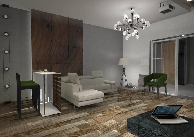 Дизайн гостиной частного дома: Гостиная в . Автор – RENDER