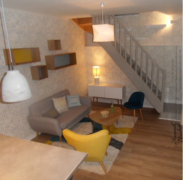 Décoration salon rétro influence nordique: Salon de style  par HANNAH ELIZABETH INTERIOR DESIGN & CREATION