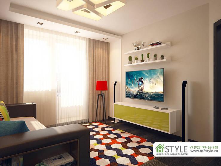 Квартира «Арт-хаус»: Гостиная в . Автор – Студия m2style