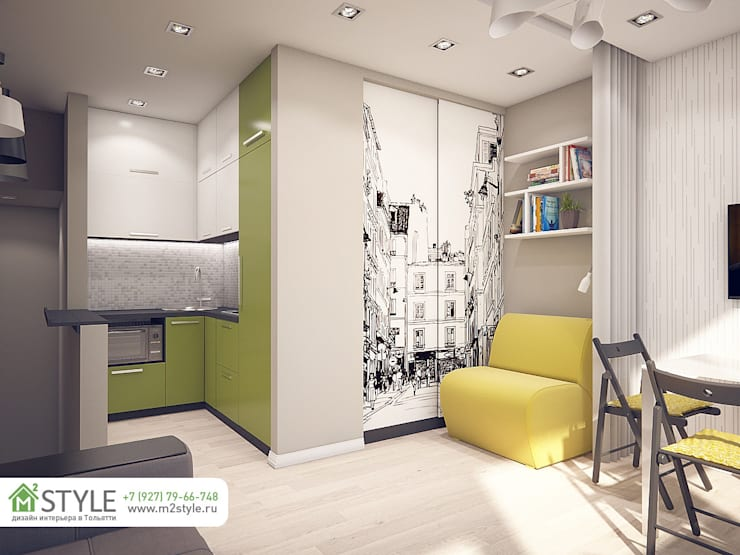 двухуровневая квартира-студия: Гостиная в . Автор – Студия m2style