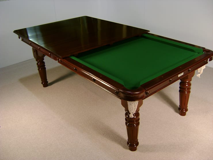 7 ft De'Oro Snooker/Pool Convertible Dining Table, shown with some of its leaves in position.:  Dining room by HAMILTON BILLIARDS & GAMES CO LTD