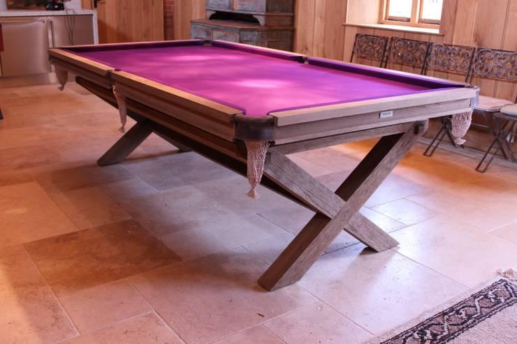 8 ft Bespoke Fumed Oak Crossed Leg Table with purple cloth:  Dining room by HAMILTON BILLIARDS & GAMES CO LTD