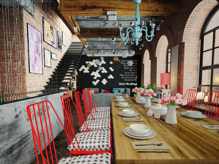 ЛОФТ в стиле JAZZ: Столовые комнаты в . Автор – Частный дизайнер Оксана Пискарева, Лофт