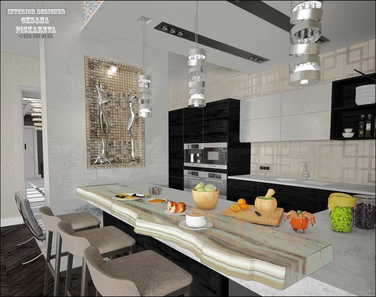ЖК ПАРК ПАЛАС   <q>Берлинская лазурь</q>: Кухни в . Автор – Частный дизайнер Оксана Пискарева