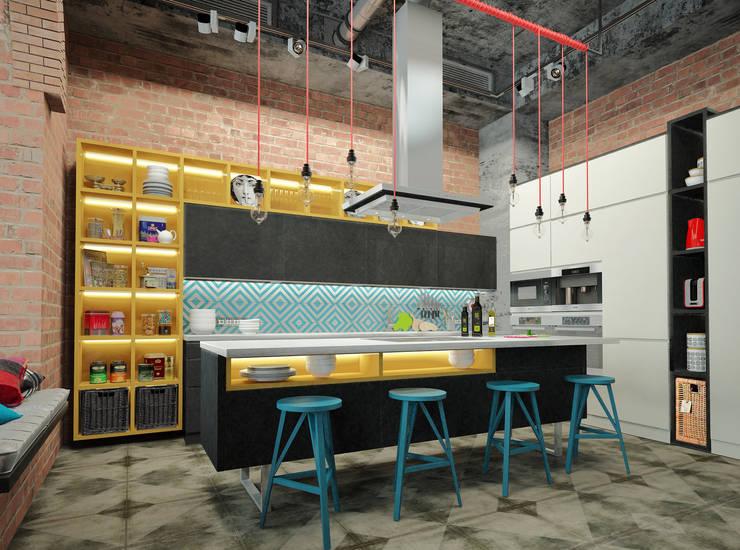 ЛОФТ в стиле JAZZ: Кухни в . Автор – Частный дизайнер Оксана Пискарева, Лофт