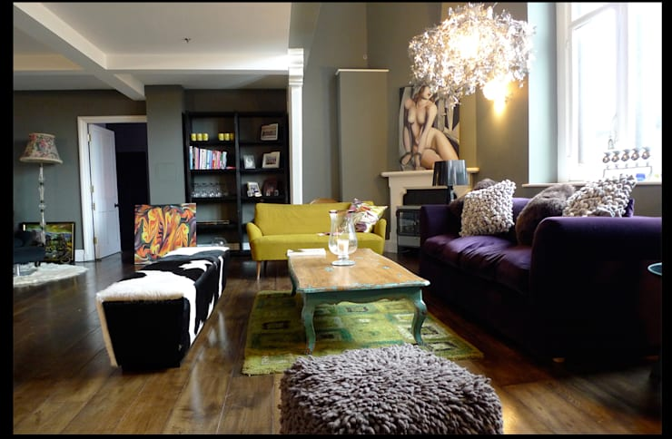 Apartment St Pancras Station London:  Living room by wayne maxwell