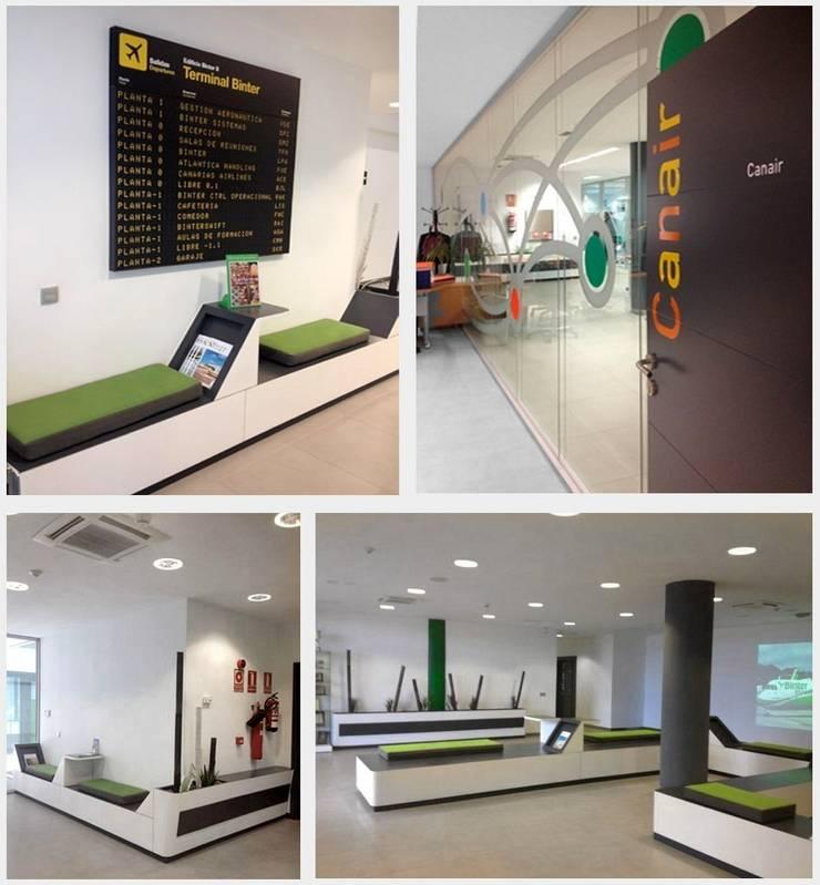 Diseño Mobiliario Binter Canarias: Aeropuertos de estilo  de Alicia Toledo