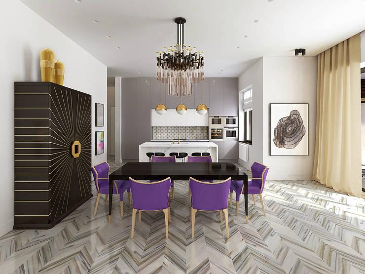 Кухня-столовая: Столовые комнаты в . Автор – ELENA BELORYBKINA