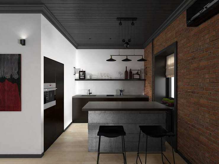 Industrial style kitchen by ELENA BELORYBKINA Industrial