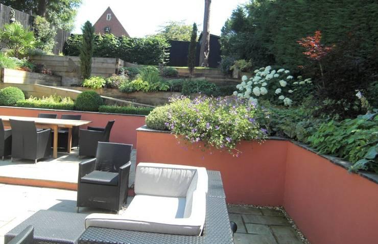 Contemporary Sloping Garden Design, Gerrards Cross:  Garden by Linsey Evans Garden Design