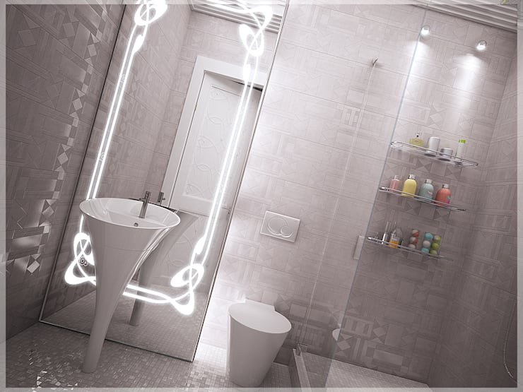 Роскошный Ар-деко: Ванные комнаты в . Автор – премиум интериум