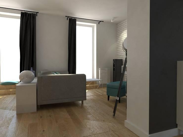 Nadwiślańska \ wizualizacje: styl , w kategorii Salon zaprojektowany przez NIESKROMNE PROGI