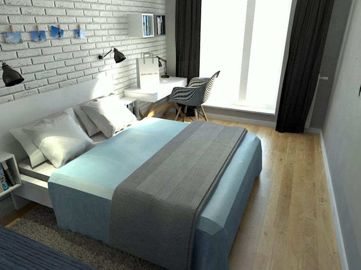 Nadwiślańska \ wizualizacje: styl , w kategorii Sypialnia zaprojektowany przez NIESKROMNE PROGI