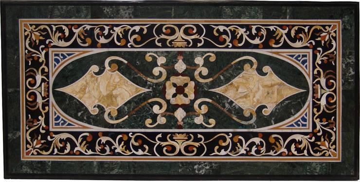 Mesa rectangular de mármol verde: Salones de estilo  de Conely
