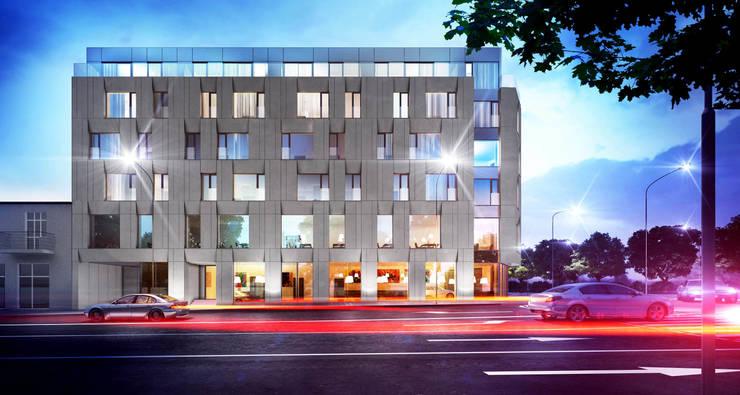 Półwiejska 47 / budynek mieszkalny - wizualizacja wieczorna 01: styl , w kategorii Powierzchnie handlowe zaprojektowany przez Easst.com
