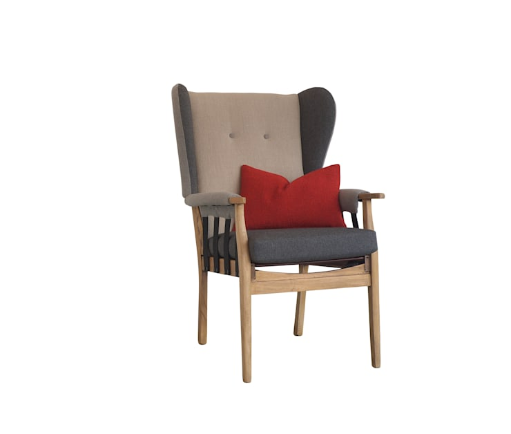 Josphine B chair _ front:  Living room by Urban Upholstery