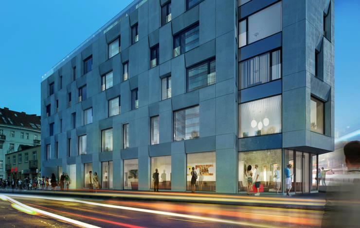 Półwiejska 47 / budynek mieszkalny - wizualizacja wieczorna 03: styl , w kategorii Powierzchnie handlowe zaprojektowany przez Easst.com