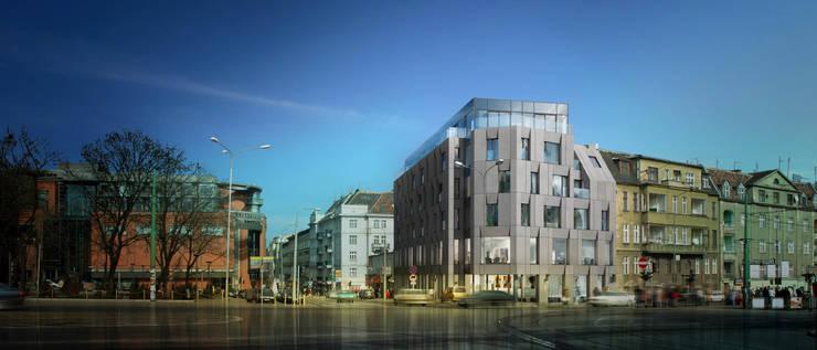 Półwiejska 47 / budynek mieszkalny - wizualizacja 04: styl , w kategorii Powierzchnie handlowe zaprojektowany przez Easst.com