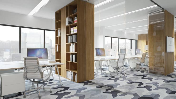 Półwiejska 47 / budynek mieszkalny - wizualizacja wnętrza 04 / biuro: styl , w kategorii Powierzchnie handlowe zaprojektowany przez Easst.com