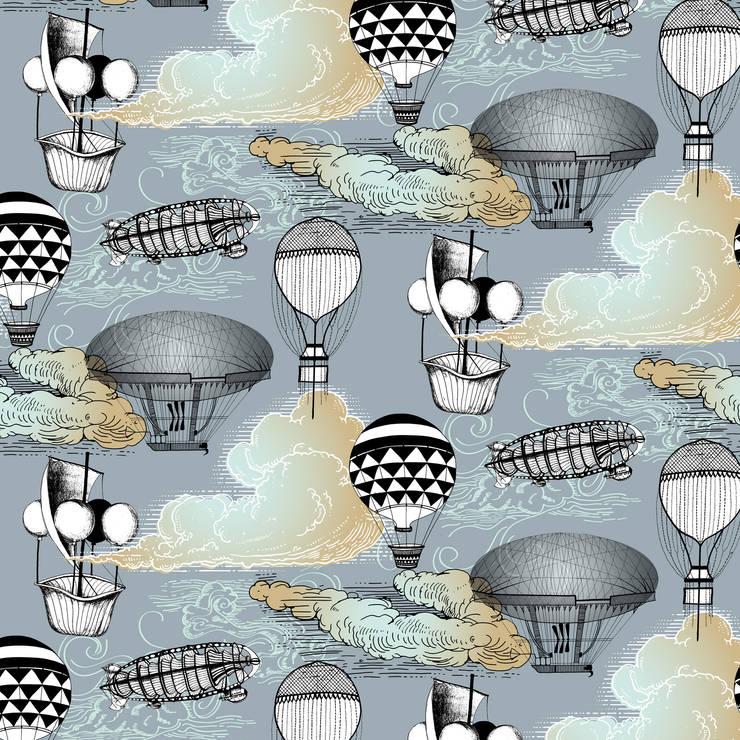 Aeronaut Wallpaper by Kate Usher Studio:  Walls & flooring by Kate Usher Studio