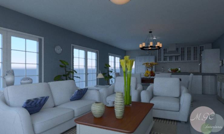Casa en la playa: Salones de estilo  de MGC Diseño de Interiores