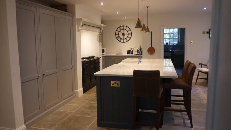Umbrian Limestone - Pantry Blue and Damask deVOL Kitchen :  Kitchen by Floors of Stone Ltd