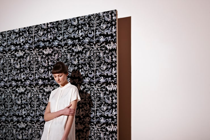 Aves Embroidered Wallpaper:  Walls & flooring by CUSTHOM