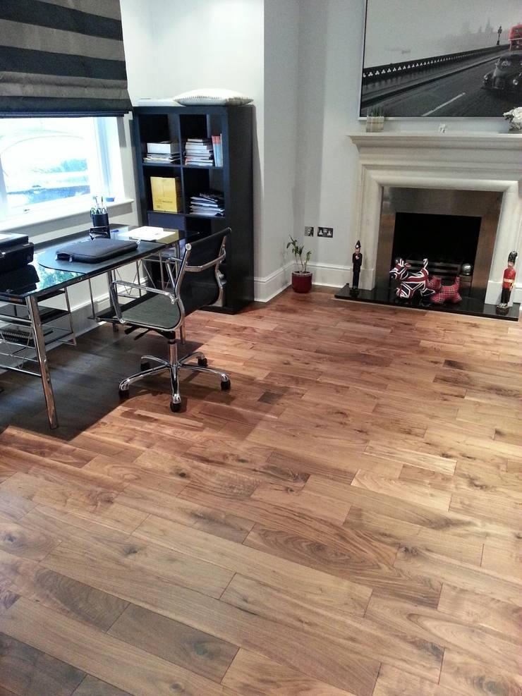 Engineered Walnut Flooring:  Study/office by The Prestige Flooring Company