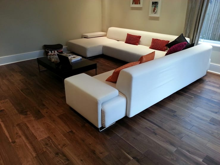 Engineered Walnut Flooring:  Living room by The Prestige Flooring Company
