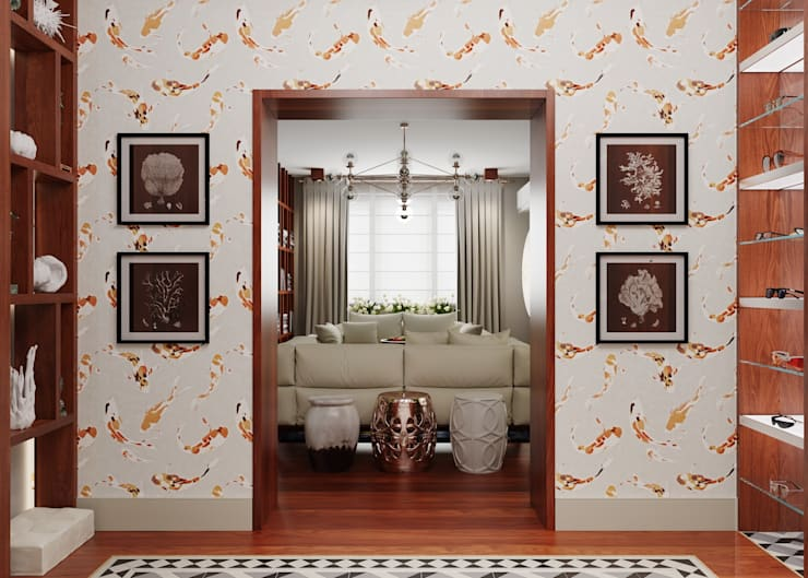 Colonial style corridor, hallway& stairs by FEDOROVICH Interior Colonial